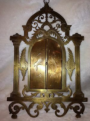 Antique French Brass Prayer Card Holder With Russian Prayer Card 1880-1910 10""