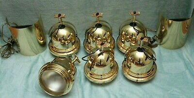 6 VTG Polished Brass/Gold Lightolier Bell Track Lights & 2 Matching Sconce 250W