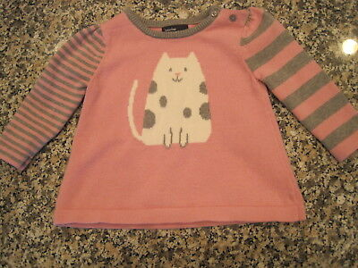 b7597775d38e6 Baby Gap Girls Pink Gray Kitty Cat Cotton Pullover Sweater 6-12 months EUC