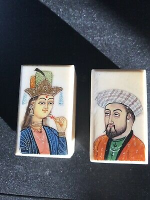 Vintage Pair Hand Painted Persian Miniature Portrait Bone Boxes