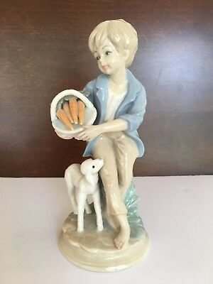 Great vintage porcelain figurine- Girl w/ Lamb-pristine condition! Marked!