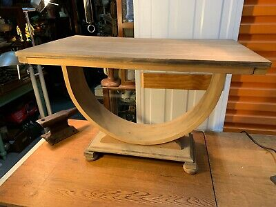 Vintage 1940's Australian Art Deco Demi Luna Walnut Side Occasional Table