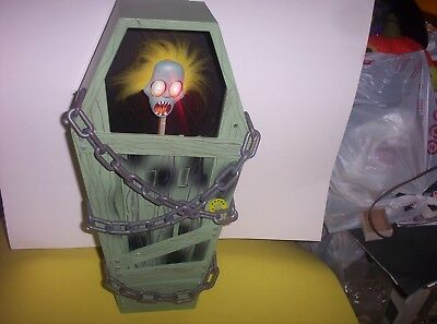 "Vintage 1999 Animated Halloween Gemmy Screaming Coffin Lights Sounds-18""-N.Mint"