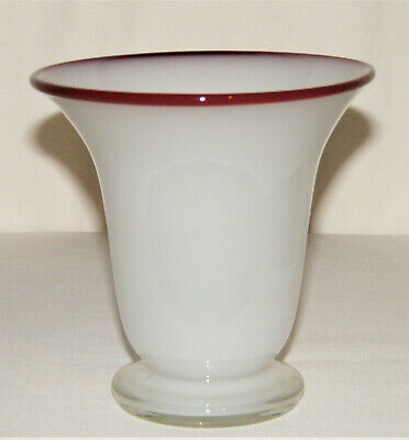 Marked CZECHOSLOVAKIA KRALIK GLASS Czech ~White TANGO VASE~ Maroon (Red) Rim EX