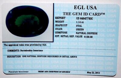 Egl Usa Tested & Certified Oval Green 1.14 Ct Natural Diopside Value $100.00