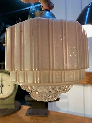 Vintage Australian 1920's Art Deco Pink Glass Lamp Light Shade & Diffuser