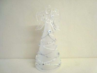 Christmas Silver Star Small LED Glass Angel Colour Changing