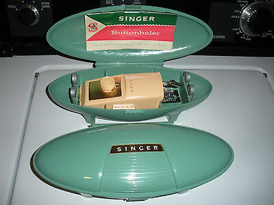 2 Singer Sewing Machine Buttonholers attachments in Green Case 1 w/Paperwork1960