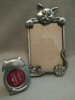 Lot of Two Cat Picture Frames, Cat/Kitty Shaped
