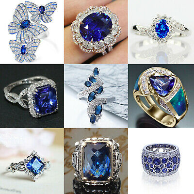 Antique Women Blue Sapphire 925 Silver Wedding Engagement Propoes Ring Size 6-10