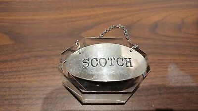 Vintage Sterling Silver Decanter Tag Scotch
