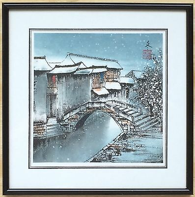 "Vintage Japanese Hand-Colored Stipple Engraving - Houses and Snow - Frame 8""x8"""