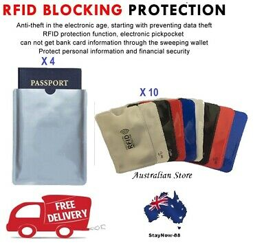RFID Blocking Sleeve Secure Credit Card ID Protector Anti Scan Safet 4xL + 10xS