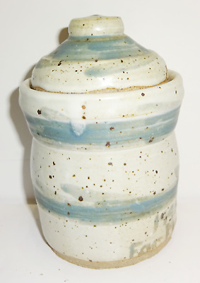 Vintage Primitive Hand Made Hand Spun Glazed Painted Pottery Lidded Sugar Bowl