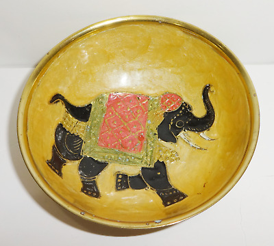 Vintage Solid Brass Hand Painted Enamel Bowl w/ Elephant Design