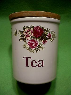 Vintage English T.G. GREEN Cloverleaf  ' Tea '  canister with colorful roses &