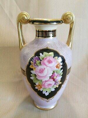 """STUNNING Antique Nippon 9.75"""" Two Handle Vase W/Hand Painted Roses"""