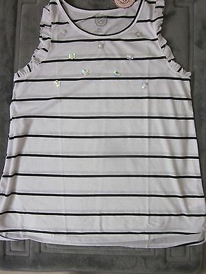 "New $24.00 ""SO"" Girls Beautiful Black & White Top w/sequins - Size:  14 1/2 Plus"