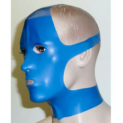 Hot 100% Latex Gummi Blue and Gray Hood Headgear Cosplay mask Size S-XXL