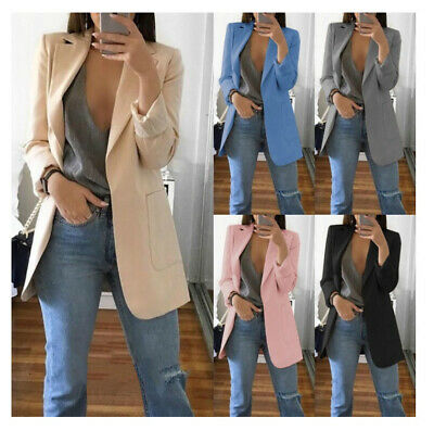 Women Ladies Long Sleeve Slim Blazer Suit Coat Work Jacket Casual Top Size 6-20