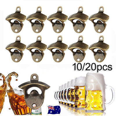 10/20x Rustic Cast Iron Wall Mounted Bottle Opener Cave Bar Beer Tool Top AU