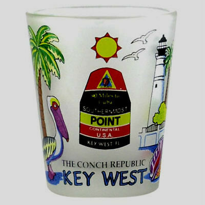 Key West Florida Southernmost Point Frosted Shot Glass Shotglass