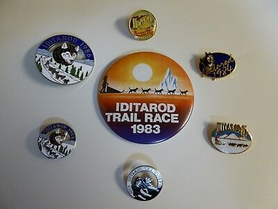Vintage Set of Alaskan Iditarod Sled Dog Race Pinbacks ,Starting 1982 !