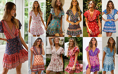 AU Women Wrap Boho Floral Short Mini Dress Evening Party Beach Summer Sundress