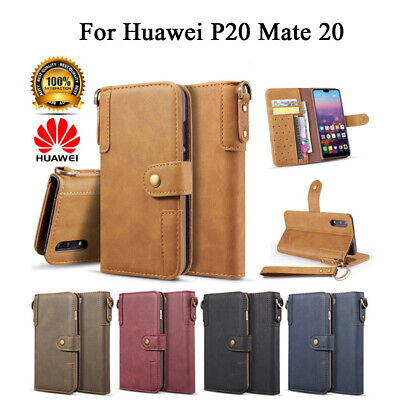 For Huawei P20 Mate 20 Luxury Cowhide Leather Flip Wallet Shockproof Case Cover