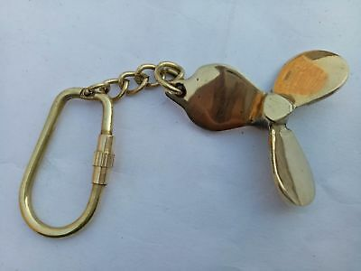Vintage Antique Brass Propeller Key chain Key ring Nautical Sailor Maritime