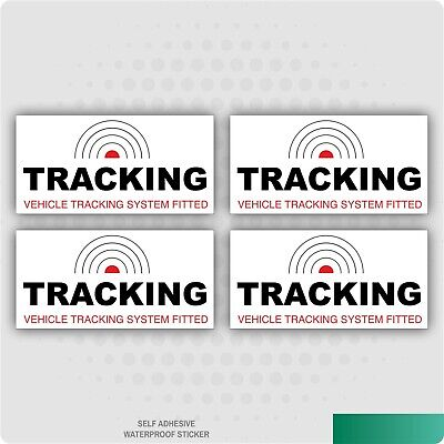 4 x TRACKING VEHICLE TRACKER SYSTEM FITTED CAR STICKER DECAL WINDOW BUSINESS