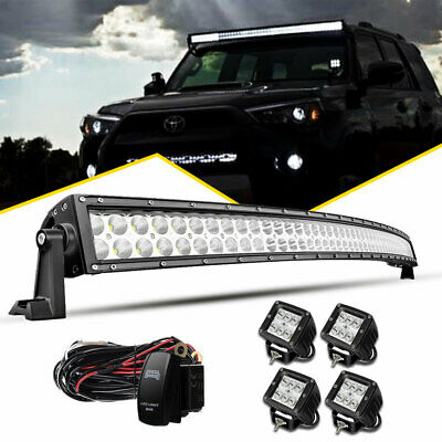 52inch LED Light Bar 700W Curved Combo+4x 4'' Pods SUV Ford 4WD Boat Offroad 50
