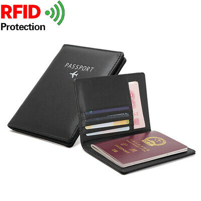 Travel NFC RFID Blocking Leather Passport ID Card Holder Secure Wallet Cover AU