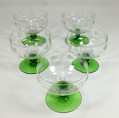 5 Old VTG Etched Grapevine Clear Glass Sherbet Dish Green Knob Footed Base RARE