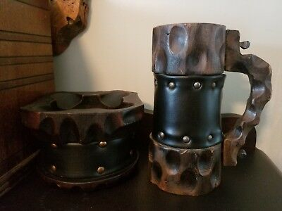 Handmade Wooden Carved Black Leather Beer Mug Stein Ashtray Mortar Made in Spain