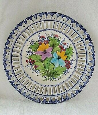 """Vintage Delft Ceramic Plate Hanging Art Laced Edge Hand Painted Collectible 14"""""""