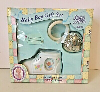 Precious Moments Baby Boy Gift Set Rattle and Porcelain Frame Bank NIB