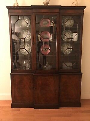Baker Vintage Small Size Mahogany Inlaid 3 Door Breakfront With Dentil Cornice