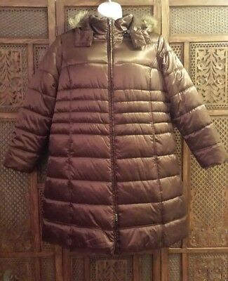 56e3f6d8bdc61 NWT Long Puffer Brown Shiney Hooded Coat by Faded Glory- Plus Size 2X (18W