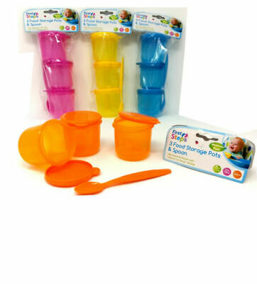 Set Of 3 First Steps Baby Toddler Food Storage Pots Lids With Weaning Spoon BPA