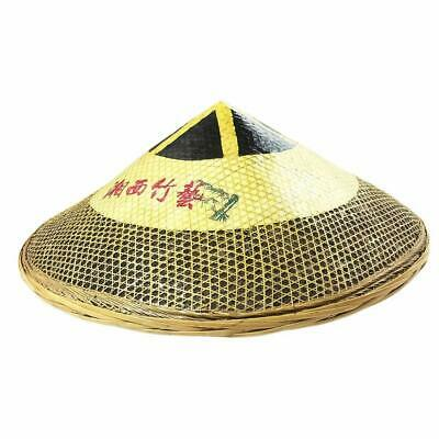 Natural Bamboo Chinese Hat Hand-Woven Asian Tradition Style Cap Dia. 19'' H 7.5""