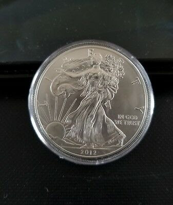 2012 Uncirculated American Silver Eagle 1 oz. .999 Silver in Air tite Holder