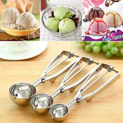 3 Size Ice Cream Spoon Stainless Steel Spring Handle Masher Cookie Scoop Tools