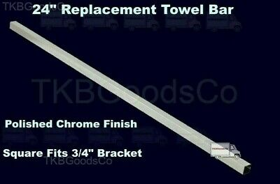 """24"""" REPLACEMENT TOWEL BAR Polished Chrome Finish Square Fits 3/4"""" Bracket"""