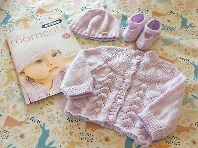 Baby Knitting Pattern Book COMPLETE KIT with 3 PATONS Baby Smiles 4ply wool Yarn