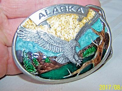 Alaska Belt Buckle Pewter  Enamel Siskiyou 1986 Eagle W/ Gold Rush