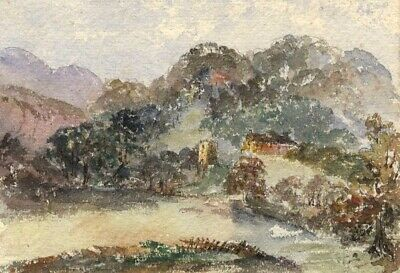 Cowan, Hillside View, Germany - Original 1880 watercolour painting