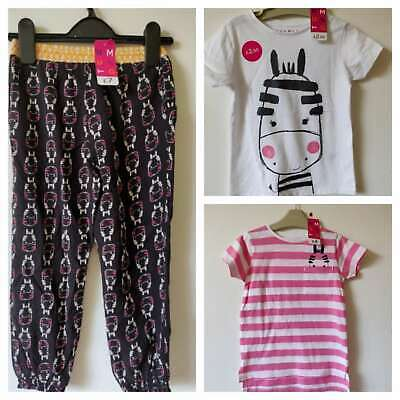 Girls Outfit Set Zebra Trousers Tops T-Shirt  Age 1.5-2 3-4 4-5 Nutmeg BNWT