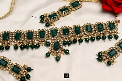 Bridal Gold Green Choker Antique Necklace Semi Indian Wedding Necklace Jewellry