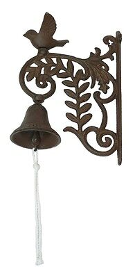 CAST IRON- Wall Mount Bird on Vine Bell  Rustic Brown Country  Decor